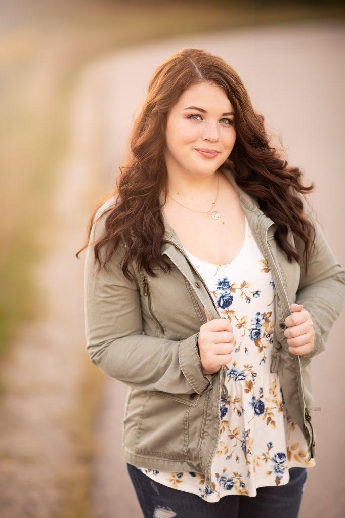 Senior Girl in sunlight   Saline High School