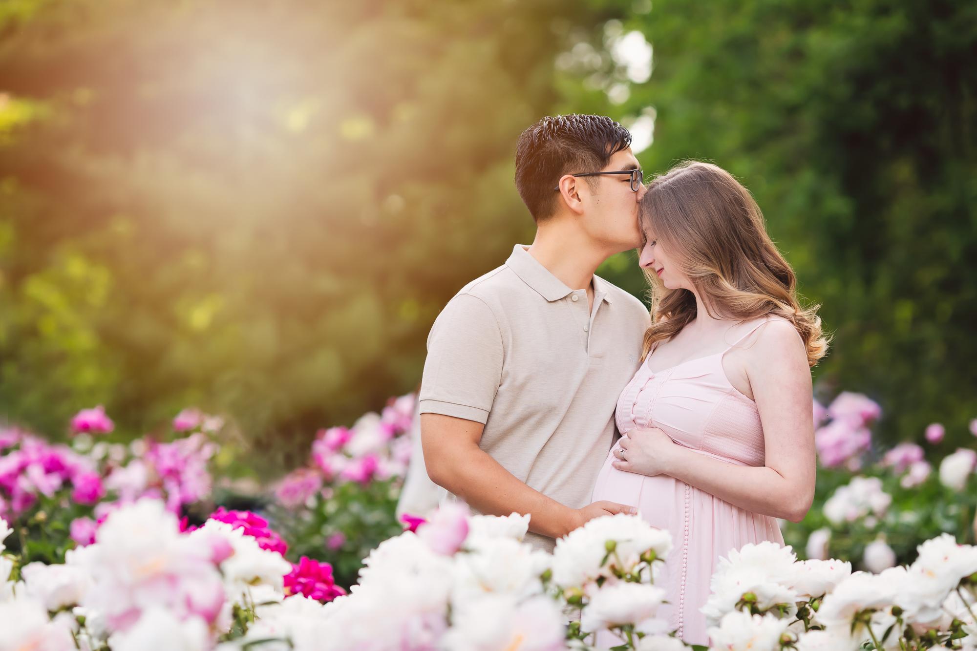 maternity photos in the peony gardens in Ann Arbor